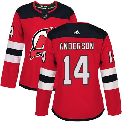 Women's Authentic New Jersey Devils Joey Anderson Adidas Home Jersey - Red